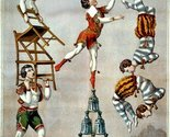 Vintage Reproduction Print Circus Acrobatic Act 1870