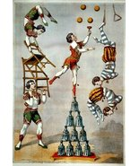 Vintage Reproduction Print Circus Acrobatic Act 1870 - $27.79