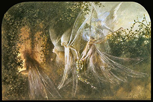 Primary image for Vintage Reproduction Print Fairy Garden 11x17 Fairies Looking Through a Goth ...