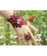 Red Lace Wrap Bracelet and Ring with Rhinestones - $7.00
