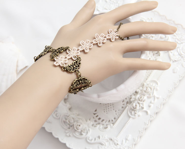 Primary image for Ivory Lace Flowers Vintage Brass Wrap Bracelet/ Bohemian Design