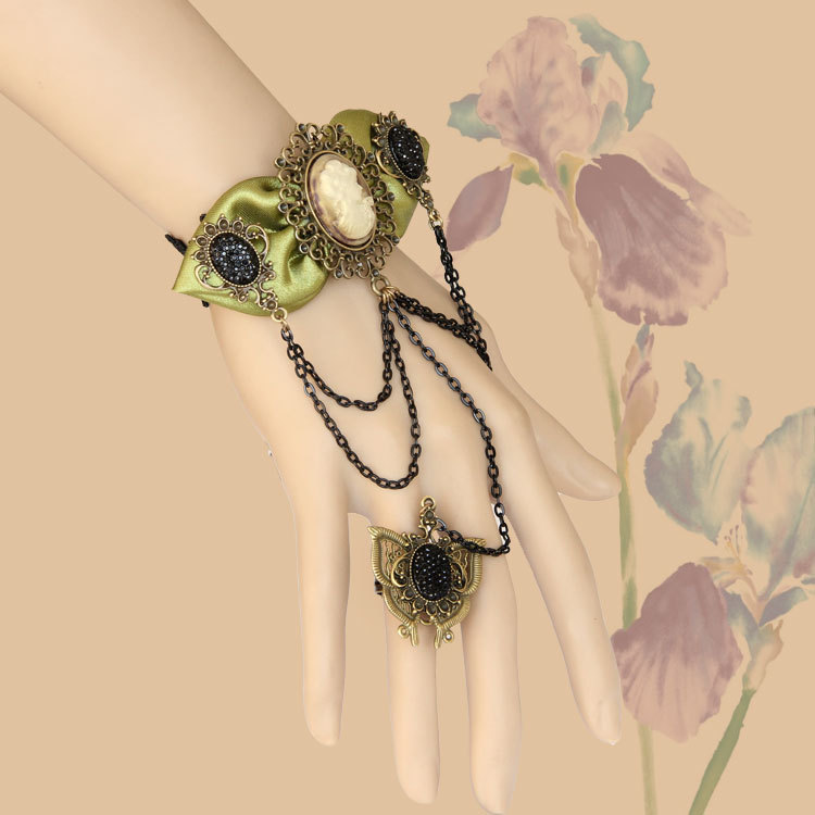 Primary image for Black Stone Ring Green Bow Vintage Woman Head Portrait Cameo Bracelet