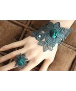 Dark Green Turquoise Satin Flower Ring and Lacey Wrap Bracelet - $7.00