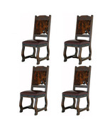 Four Gran Hacienda Hide Dining Chairs Solid Wood Lodge Old World - $1,702.75