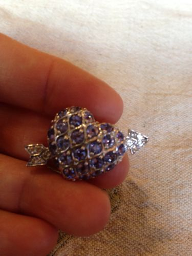 Primary image for Nemesis Vintage Genuine Gemstone Tanzanite  92.5 Sterling Silver Heart  Pin