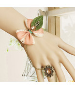 Brown Gemstone Ring Pink Ribbon Bow Musical Notes Green Leaves Bracelet - $7.00
