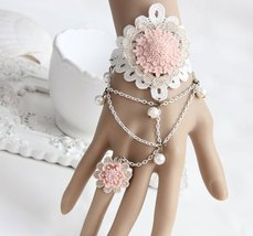 Pink Resin Flower White Beads Chain White Lace Bracelet - $9.80