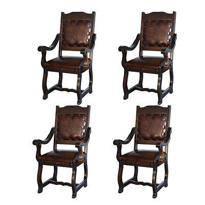 Four Gran Hacienda Leather Arm Chairs Solid Wood Lodge Shabby Chic