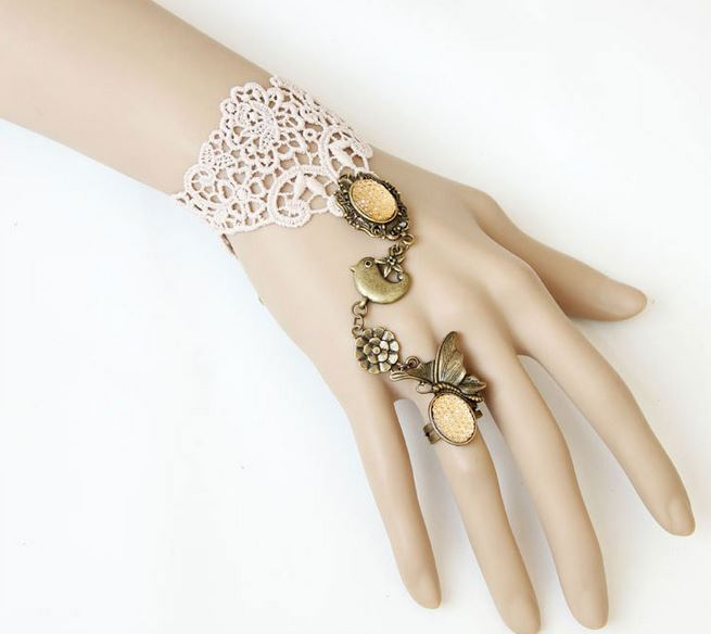Primary image for Yellow Gemstone Ring Light Pink Bracelet Adjustable w Bird & Flower