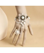 Ivory Lace Flower White Beads Pearl Bracelet and Ring - $7.00