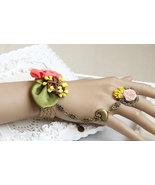 Green Red Leafy Ribbon Flowers & Nest Bracelet Ring Jewelry - $7.00
