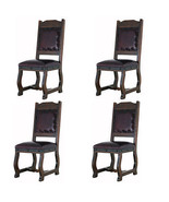 Four Rustic Gran Hacienda Leather Dining Chairs Solid Wood Lodge Old World - $1,702.75