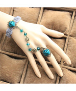 Green Satin Flower Ring Turquoise Beads Grey Blue Lace Bracelet - $7.00
