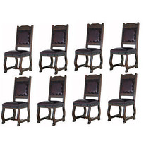 Eight Rustic Gran Hacienda Leather Dining Chairs Solid Wood Lodge Old World - $3,407.58