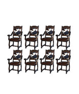 Eight Rustic Gran Hacienda Hide Arm Chairs Solid Wood Lodge Old World - $3,605.58