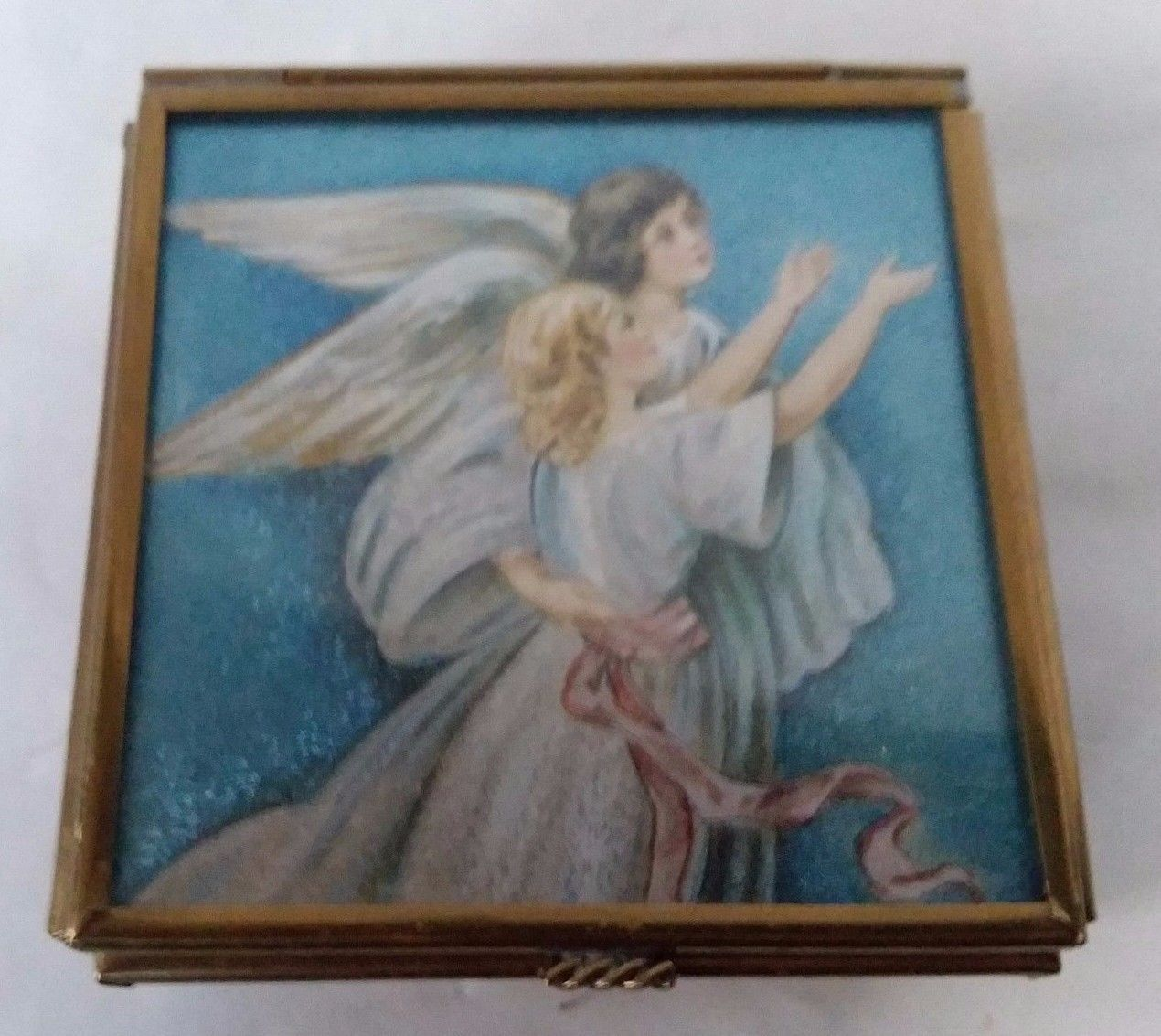 "Primary image for VTG Footed GLASS MIRRORED BOTTOM TRINKET BOX Angels 3"" x 3"" Thomas Cathey Enesco"