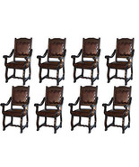 Eight Rustic Gran Hacienda Leather Arm Chairs Solid Wood Lodge Old World - $3,605.58