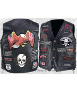 Mens Black Buffalo Leather Motorcycle Vest Waistcoat with 23 Biker Patch... - $28.99