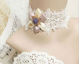 White Pink Satin Flower Purple Resin Flower White Lace Choker/ Wedding N... - $7.00