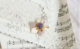 White Pink Satin Flower Purple Resin Flower White Lace Choker/ Wedding Necklace image 2