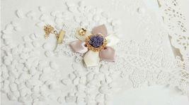White Pink Satin Flower Purple Resin Flower White Lace Choker/ Wedding Necklace image 3