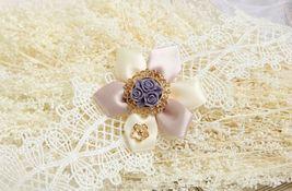 White Pink Satin Flower Purple Resin Flower White Lace Choker/ Wedding Necklace image 4