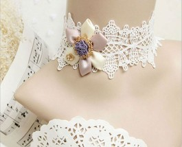 White Pink Satin Flower Purple Resin Flower White Lace Choker/ Wedding Necklace image 6