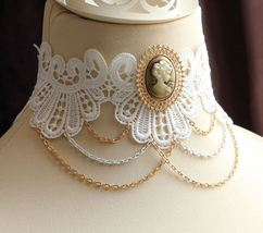 Vintage Crafted Woman Head Portrait Cameo Necklace/ White Lace Choker - $7.00