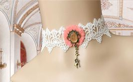 Pink Flower Yellow Gemstones Brass Giraffe White Lace Choker/ Women Neck... - $9.80