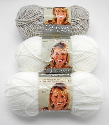 Primary image for Vanna's Choice Lion Brand Medium Weight Acrylic Yarn - 3 Skeins-2 White/1 Linen
