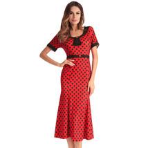 AOVEI Red Polka Dot Half Sleeve Wrap Bodycon Night Out Prom Long Mermaid Dress - $29.99