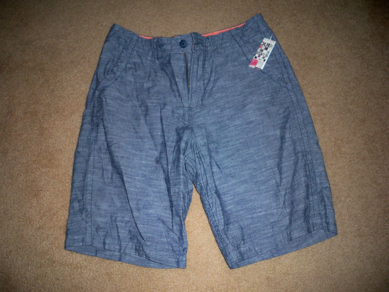 Primary image for MEN'S GUYS QUIKSILVER CHAMBRAY DENIM BLUE SHORTS MULTI POCKET NEW