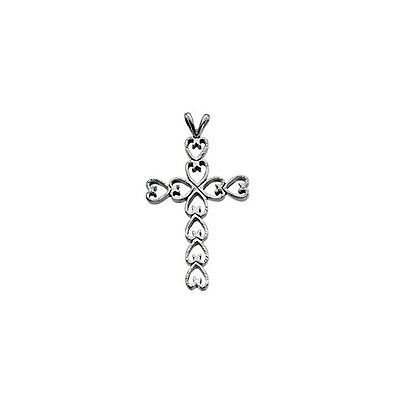 Primary image for Heart Design Cross Pendant In Platinum (30.00x21.00mm)