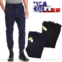Men's Denim Jogger Pants Authentic Drop Crotch 100% Cotton Urban Harem S... - $18.00