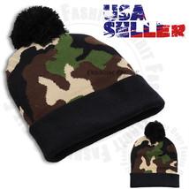 Beanie Knit Hat Men's Women's Winter Warm Cap Cuffed Army Camo PomPom Cu... - $7.59