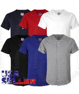 Plain Baseball Jersey T Shirts Solid Short Sleeve Button Front Sports Me... - $10.72+