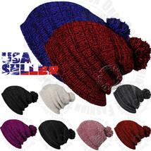 Pom Pom Knit Men's Women's Baggy Beanie Winter Hat Ski Slouchy Warm Cap ... - $6.95