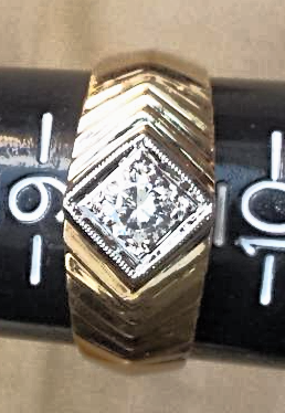 The RICH MAN's RING: Fine DIAMOND Art Deco Style in 14K 2-Tone GOLD (.40 Carat)