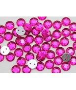 8mm Sew On Rhinestones Fuchsia H108 - 75 Pieces - $5.02