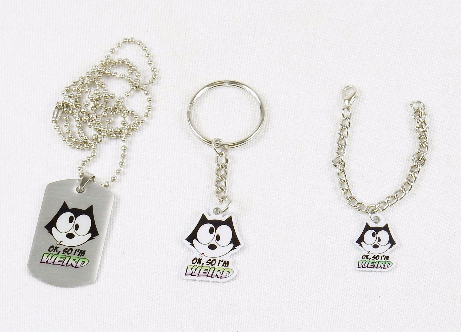 Primary image for Felix The Cat Fashion Jewelry Set ~ Dog Tag, Key Ring, Bracelet ~ #FLX-WRD-04