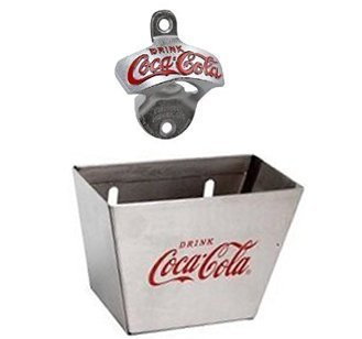 1 X Coca Cola Wall Mount Bottle Opener and Coca Cola (Coke) Bottle Cap Catche...