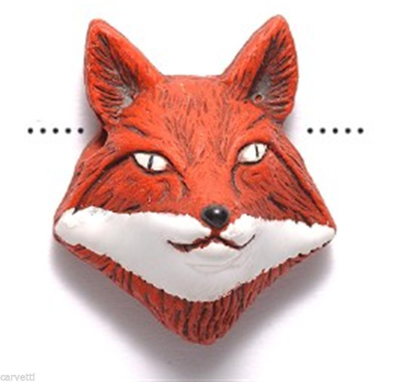 Primary image for Peruvian Ceramic Red Fox Face Pendant Focal Bead (1) Hand Painted