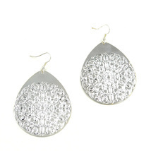 Women new large silver floral tear drop hook pierced earrings - $25.63 CAD