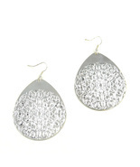 Women new large silver floral tear drop hook pierced earrings - $19.00