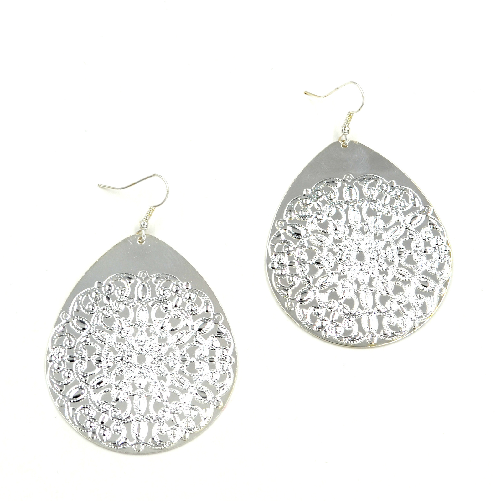 Women new large silver floral tear drop hook pierced earrings