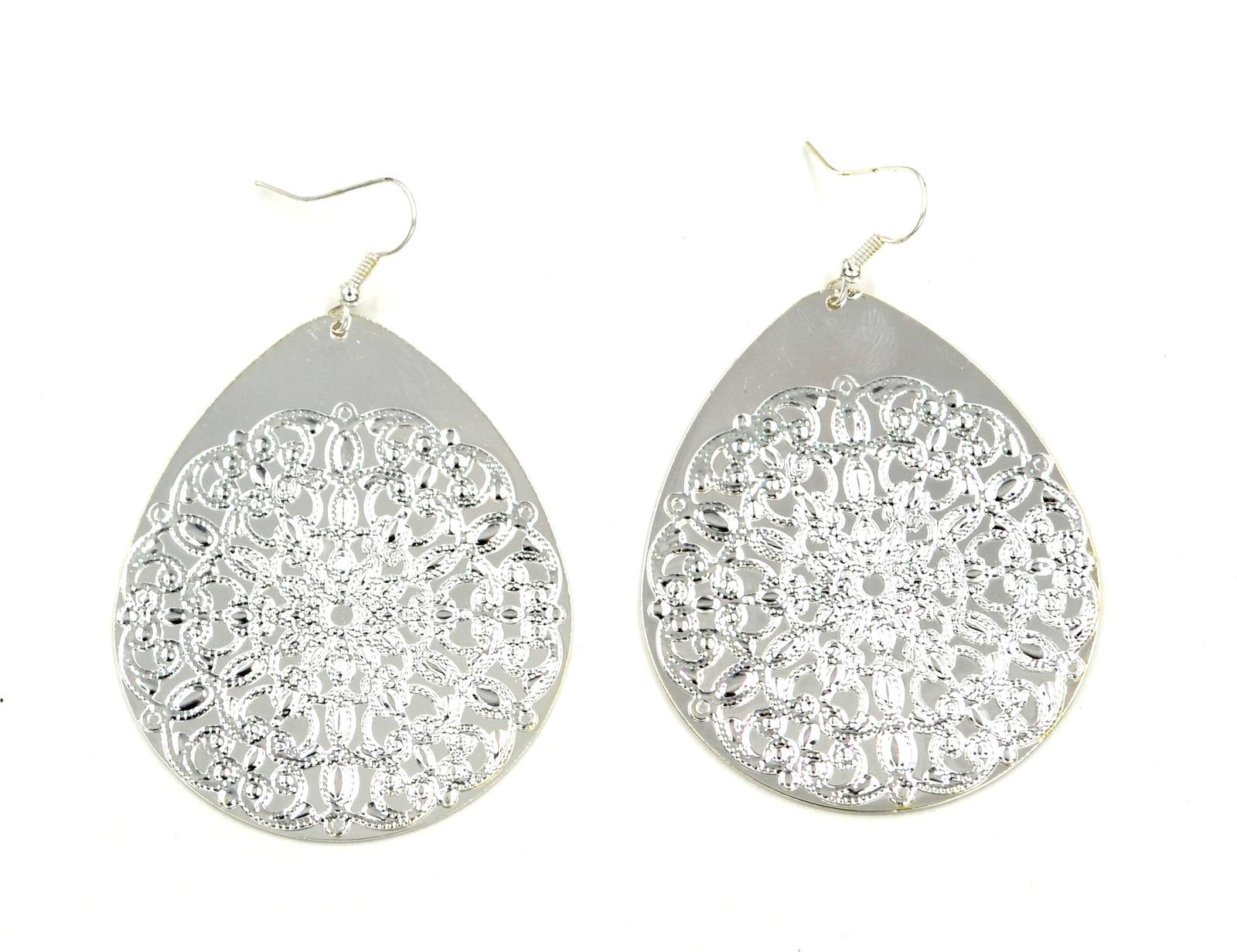 Women new large silver floral tear drop hook pierced earrings