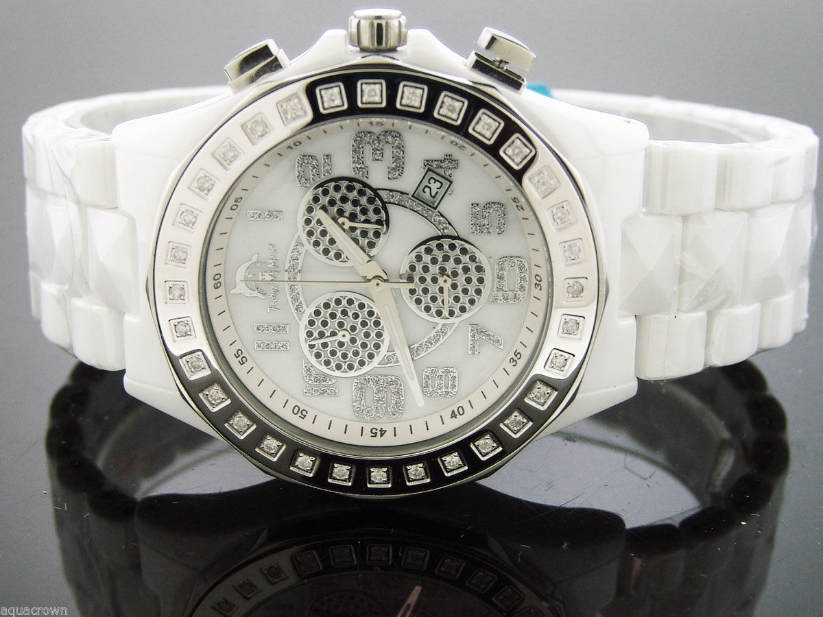 Primary image for Men's Techno Master white Ceramic Watches 1.00ct Diamonds Watch Tm-2131