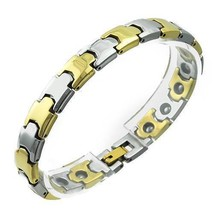 Stainless Steel Bracelet With  two tone 7.5 in long 8mm wide - $44.50