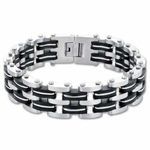 New Stainless Steel with Rubber Bracelet 9 Inch Long - $24.70