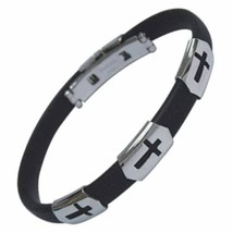 Stainless Steel and Rubber Cross Cutout Bracelet - $19.75
